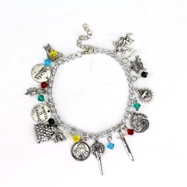 "Game of Thrones Charm Bracelet Pendant ""Winter Is Coming"" Targaryen House Symbol Sword Bracelet Hollow Dragon Charm Bracelets"