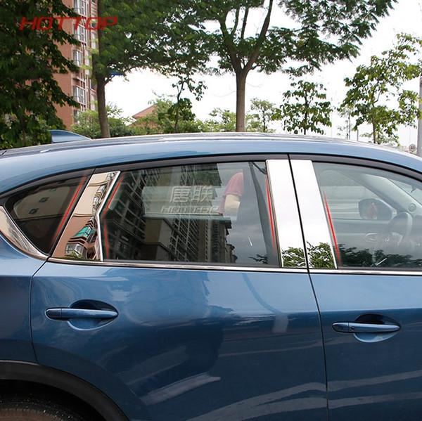 Aço inoxidável Car Styling Pilares Centro B + C Pilar Tampa Guarnição Janela Meio Quadro para Mazda CX-5 CX5 2018
