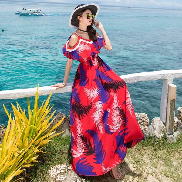 off shoulder dress 2019 new red navy leaves print beach ruffle spaghetti strap unique summer boho maxi dresses