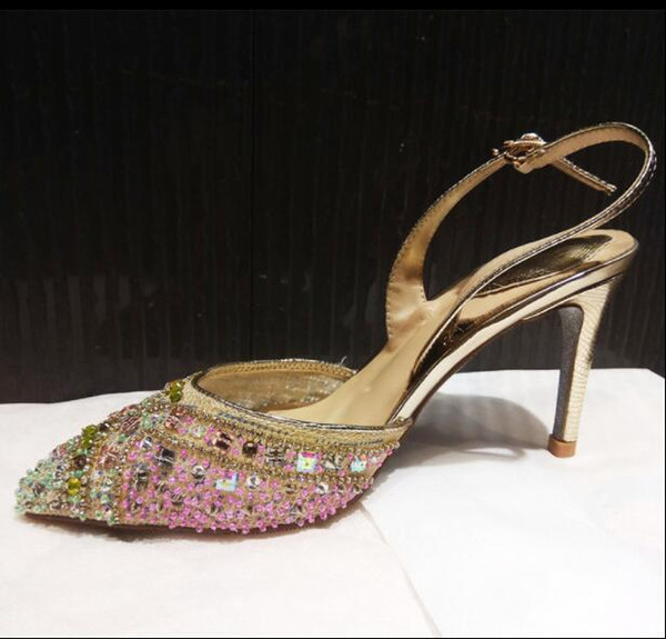 Rhinestone lace with a high heel female European and American new hollow crystal shallow mouth high heel single shoes SIZE:EU34-41