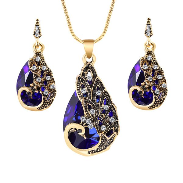Bohemian 18K Gold Plated Crystal Peacock Pendant Necklace Vintage Punk Style Rhinestone Gemstone Drop Earring Women Jewelry Sets