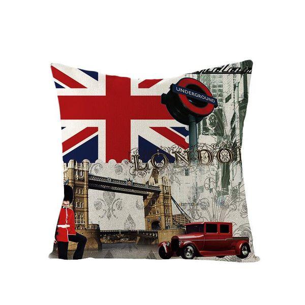 Sofá de casa Cama Decoração Capa de Almofada Único Lado Impressão Britânico Vento Fronha Praça Bandeira Britânica de Algodão Linho Escritório Fronha BH1407 TQQ