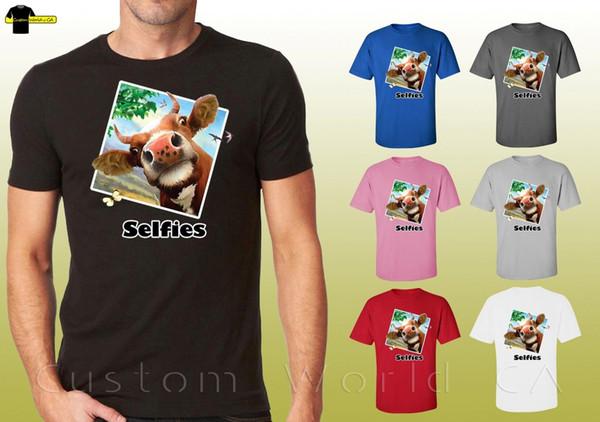 Selfie Camisas Engraçado Vaca Rosto Gráfico Bull Selfies Unisex T-Shirt (21049 hd4) Dos Desenhos Animados t shirt homens Unisex Novo