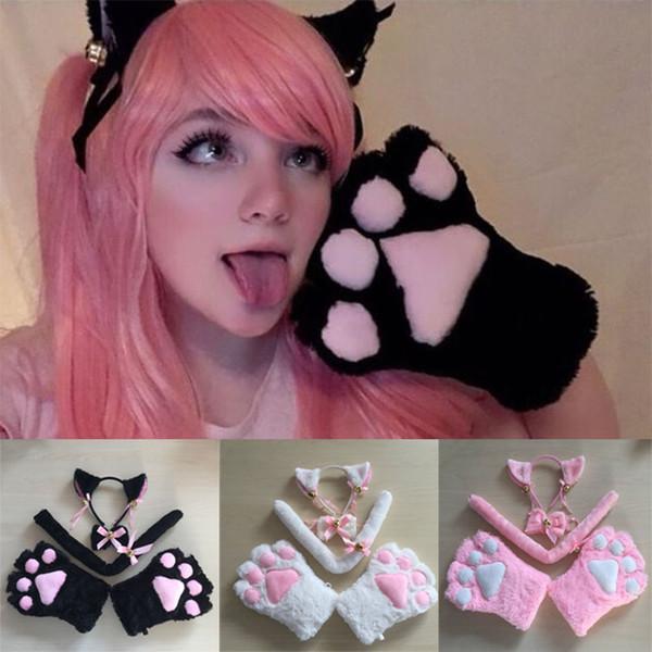 stella Carino sexy Kawaii Kitty Cat Meow Amore Ribbon Anime Girl Cosplay Accessori Imposta peluche zampa di gatto artigli Guanti fascia dell'orecchio di coda