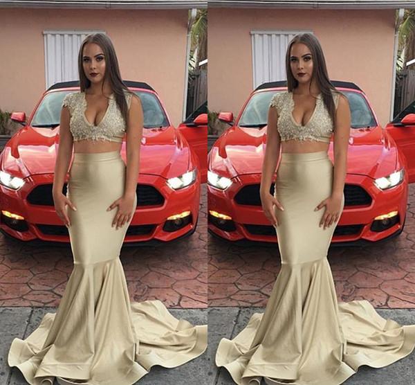 Şampanya İki Adet Mermaid Gelinlik Modelleri V Boyun Dantel Aplike Kat uzunluk Ucuz Basit Özel Durum Elbise Abiye giyim de de ...