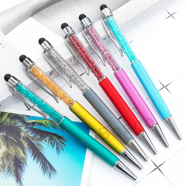 best selling Fine Crystal Ballpoint Pen 1mm Fashion Creative Stylus Touch Pen Writing Stationery Office School Ballpen Black Ballpoint Pens DBC BH2715