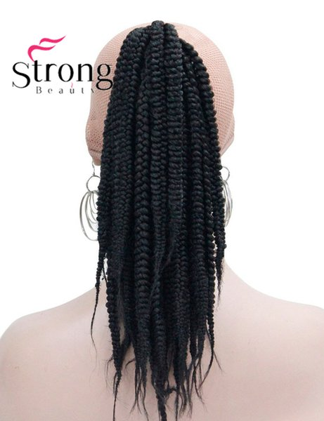 Long Afro Kinky Curly Crochet Twists Braids Ponytail Hair Extension Synthetic HairPiece with Jaw Claw Clip Black