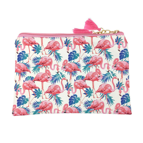 Mignon Animal Flamingo Maquillage Sac Femmes PU En Cuir Sac À Cosmétiques Zipper Make Up Pouch Voyage Trousse De Toilette Organisateur Beauté Vanity Case