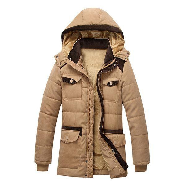 2019 männer Jacke winter Herrenmode Casual Thermo Parka Multi Taschen Warme Winter Kapuzenjacke Mantel 4 Farben für Wahl