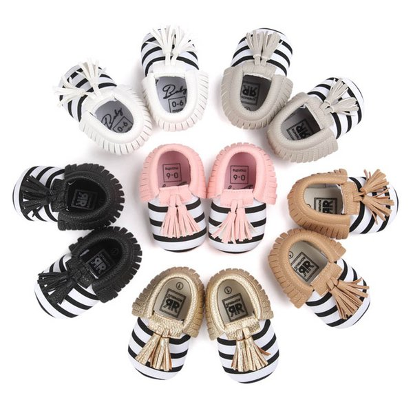New kids shoes infant shoes stripe tassels Baby Girls Shoe Moccasins Soft First Walker Shoes Newborn Shoe Baby Footwear A3642