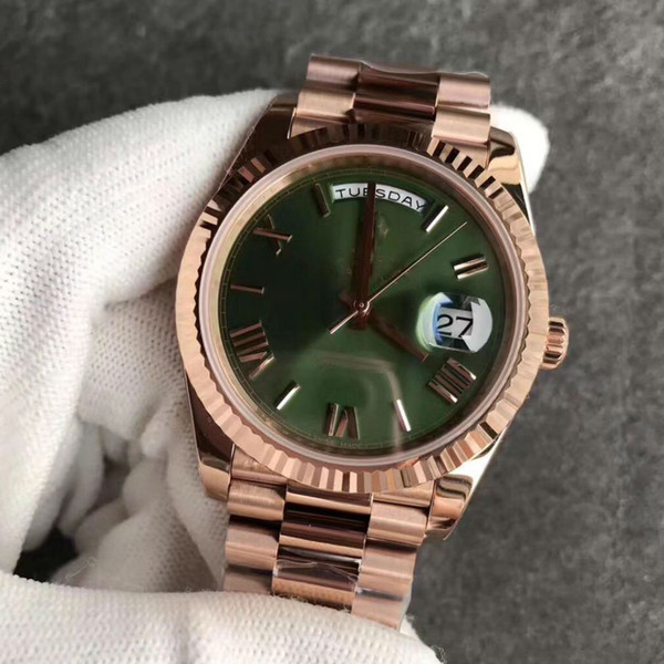 hot sale 18K Rose Gold steel clasp Mens Watch Day-Green face President 116-719 Automatic Watches MEN free shipping