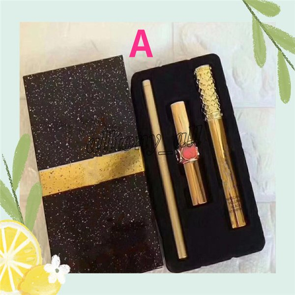 Caliente Nueva Marca de Maquillaje Set 3 unids / set Mascara Labial Eyeliner 3 en 1 SET 2 estilos Set A / B Cosmetics DHL Envío