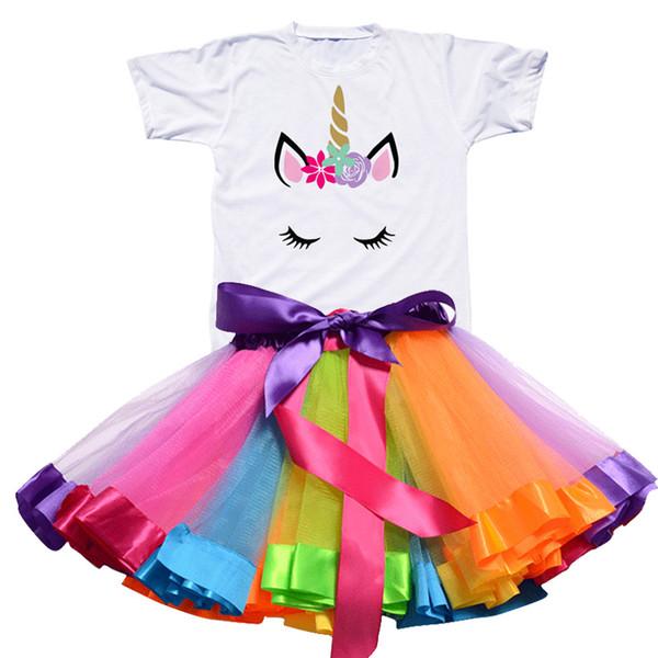 Menina do arco-íris do partido da princesa Girls Dress Unicorn vestido Tutu Criança bebê de 1 a 8 anos Roupas aniversário das crianças roupa dos miúdos