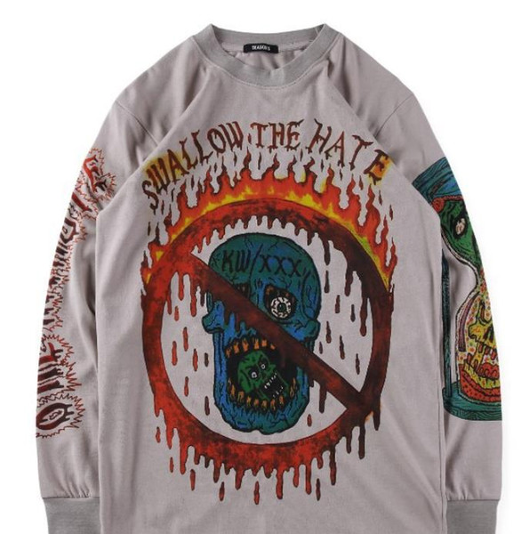 Season 6 Xxxtentacion Kanye T shirts Spring Autumn Fashion West Graffiti Designer Long Sleeved Tops