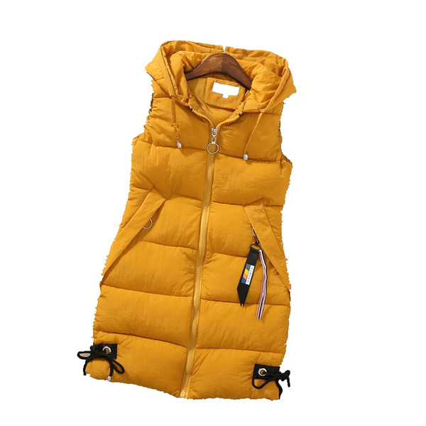 Fashion down jacket women's autumn and winter models sleeveless vest in the long hooded vest jacket