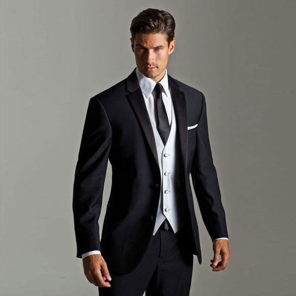 Classy Black Designer Mens Suits Slim Fit Wedding Suits For Men With Jacket Vest And Pants Groom Tuxedos Three Pieces Notched Lapel Blazers
