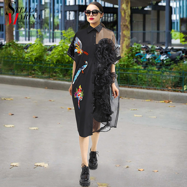 2019 2019 Summer Women Black Midi Mesh Shirt Dress Plus Size Ruffle Bird  Embroidery Lady Sheer Cute Dress Party Dress Robe Style 3392 Y190515 From  ...