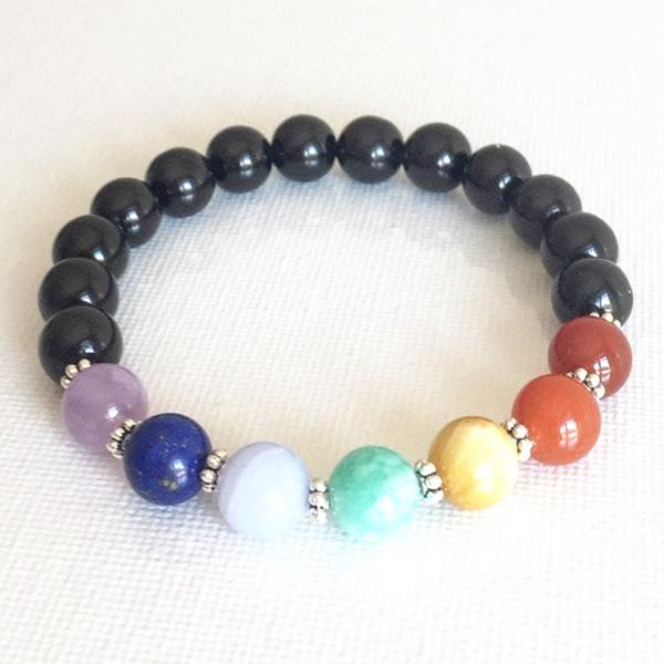 Nuovo disegno all'ingrosso 7 Chakra Yoga Bracciale Dainty gemma gioielli in pietra nera Tourmaline Bracciale Healing Chakra Mala polso