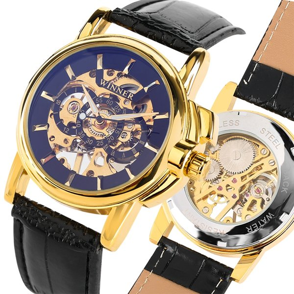 GANADOR Relojes Hombres Reloj deportivo Hombre Esqueleto Reloj Banda de cuero del ejército mecánico Reloj de pulsera de oro Marca de fábrica superior Reloj de lujo