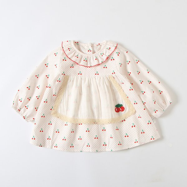 0-4T Romantic rustic autumn new 2019 girls long sleeve dress Cute cherry print dress baby girls lovely clothes
