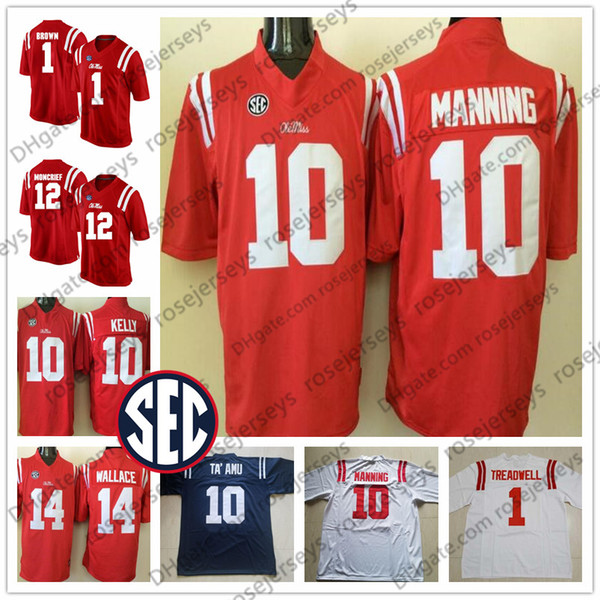 low priced 1f524 800f1 2019 Ole Miss Rebels #1 Laquon Treadwell 10 Chad Kelly Eli Manning 12 Donte  Moncrief 14 Mike Wallace Red Navy Blue White Football Jersey From ...