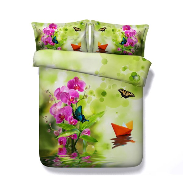Duvet butterfly 3PC Coverlet With 2 Pillow Shams Green Oriental Bedspread Butterfly Floral Bedding Pink Comforter Cover Flower Bamboo