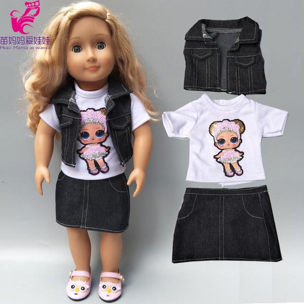 18 дюймов американская кукла куртка жилет рубашка юбка детские куклы одежда летние джинсы платье