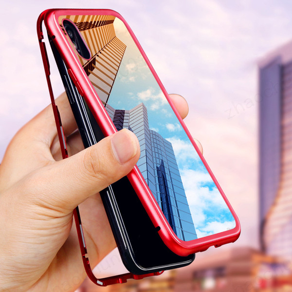 Toptan manyetik adsorpsiyon tampon metal kapak için iphone x xs max xr 8 7 artı flip kapak anti şok hard case