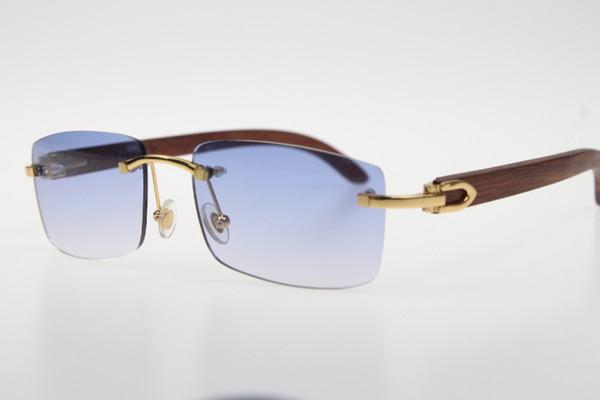 Wholesale 3524012 Carved Wood SunGlasses Rimless SunGlasses Hot Unisex designer Wooden Sun glasses with box Blue Lens