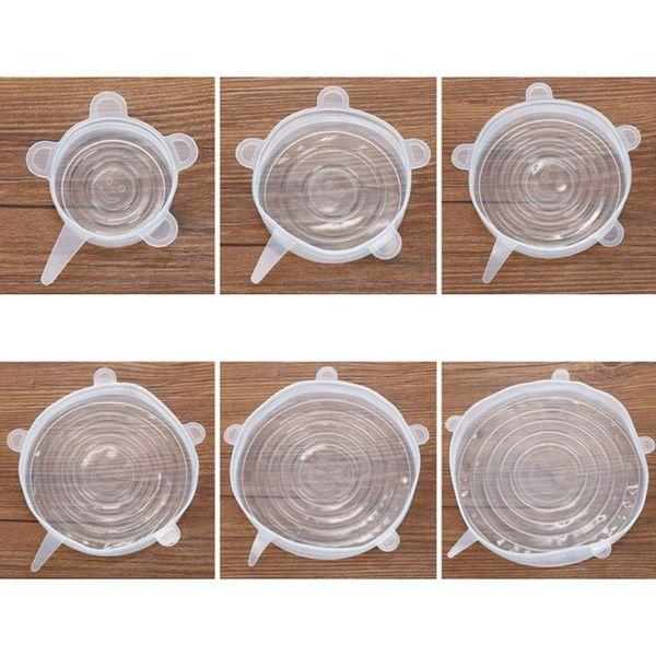 6x Silikon-Speicher-Abdeckungen, 6-Pack von verschiedenen Größen Silikon-Stretch Deckel für Schüssel, Can, Glas und so weiter