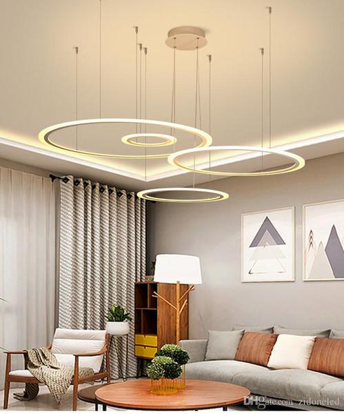 Modern LED Circular Chandeliers Lighting DIY Install Acrylic Pendant Light  Fixture For Hall Dining Room Living Room Bedroom Cheap Pendant Lights ...