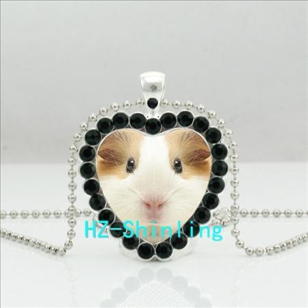 Guinea Pig Cristal Colar Amarelo Branco Cobaia Coração de cristal Jóias de Prata Heart Shaped colares Pendant HZ6