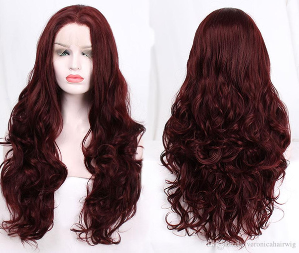 Fashion Women 26inch Body Wave Hair Burgundy Wine Red Color Glueless Synthetic Lace Front Wigs for Women Natural Hairline 180% Density