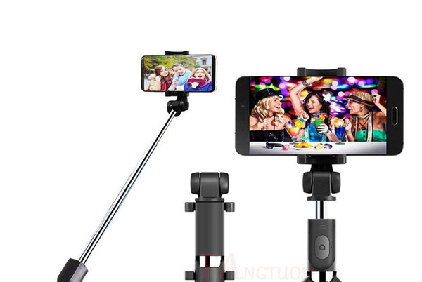 Luxury Selfie Monopods Wireless Bluetooth Selfie Stick for IPhone 8 X 7 6s Plus Foldable Handheld Monopod Shutter Remote Extendable Mini Tri