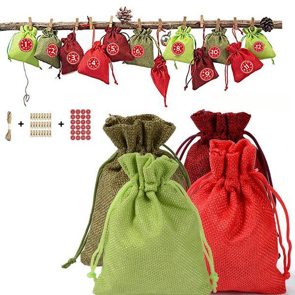 home printed reusable cute diy sticker decorative rope 24 advent clips children fabric bag christmas calendar craft kit