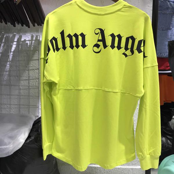 Palm Angels Black Green Casual Loog Sleeve T Shirt Men Women1:1 High Quality Hiphop Palm Angels T-shirts SH190823