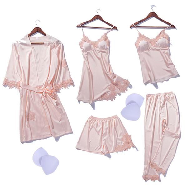 Novo 2018 Mulheres De Inverno Robe De Seda Tops Shorts Pijamas Sexy Longo Manga Robes Conjunto Camisola Lace Nightwear Desgaste Em Casa 5 PCS