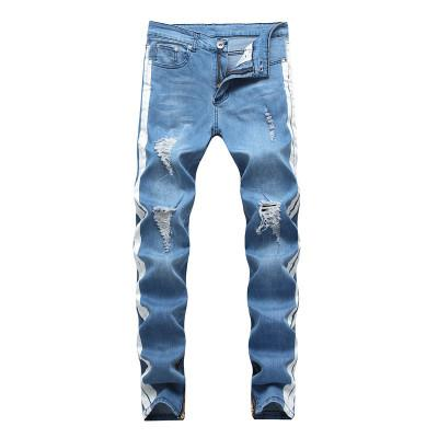 Mens diritto casuale Kanye Zipper foro Jeans High Street Retro Slim Skinny Jeans Moda Strappato Men Hip Hop Blu Denim Pantaloni