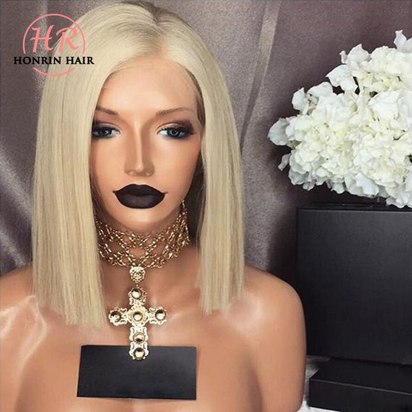 top popular Honrin Hair Full Lace Human Hair Wig Bob Blonde Color 60 Pre Plucked Hairline With Baby Hairs 150% Density Brazilian Virgin Hair Glueless 2019