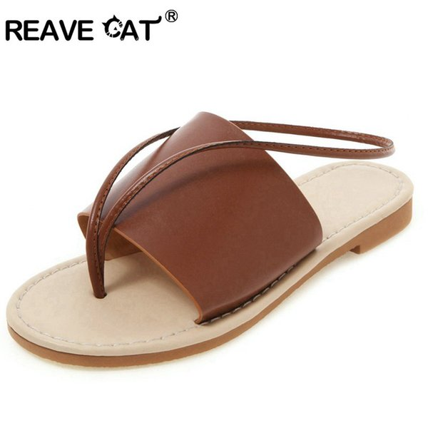 best price purchase cheap classic REAVE CAT Women'S Flip Flops Ladies Summer Sandal Clip Toe Black White  Brown Slip On Beach Shoes Female Big Size 44 45 47 Wedge Shoes Flat Shoes  From ...
