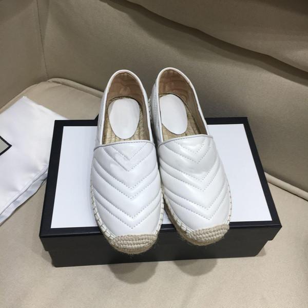 2019 zapatos de diseñador de cuero de alpargata para mujer Negro blanco Canva Moda Pisos Mocasines Lujo Piel de cordero Ventas en línea