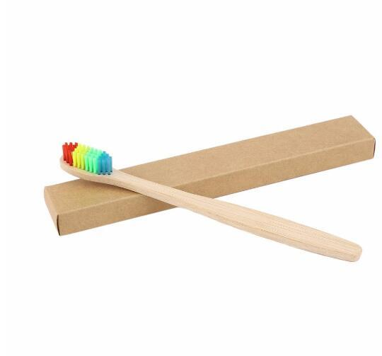 MOQ 20pcs Colorful Head Bamboo Toothbrush Environment Wooden Rainbow Bamboo Toothbrush Oral Care Soft Bristle Brushes Teeth Whitening