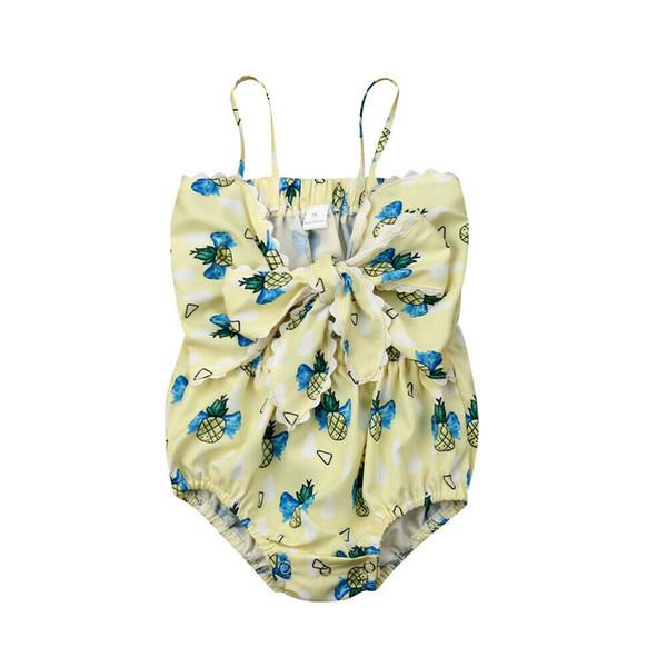 Bebé recién nacido Niñas Verano Mono Sling Sin mangas de dibujos animados Arco de piña Mameluco amarillo Ropa para niñas 0-2T