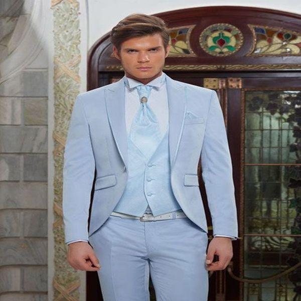 Classic Men Light Blue Suit For Beach Wedding Party Elegant Tuxedos 2019 Custom 3 Piece Terno Masculino (Jacket+Pants+Vest+Tie)
