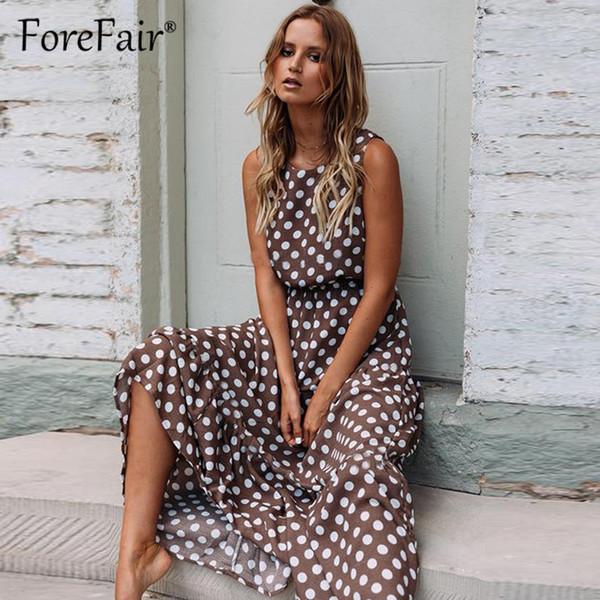 wholesale Women Polka Dot Casual Dress Summer Sleeveless long maxi dresses Femme 2019 Elegant Brown high waist a line Boho Dress