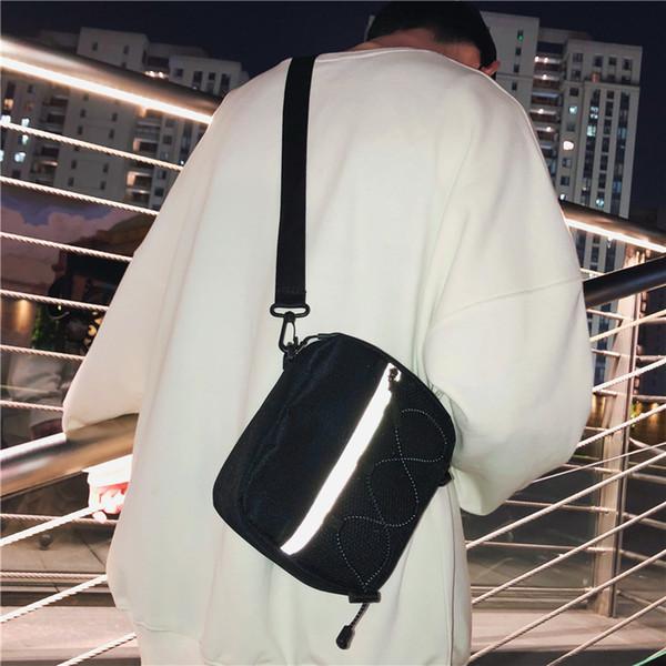 Men small satchel female ins Fashion Brand casual reflective messenger bag Japanese men's sports canvas the single shoulder bag
