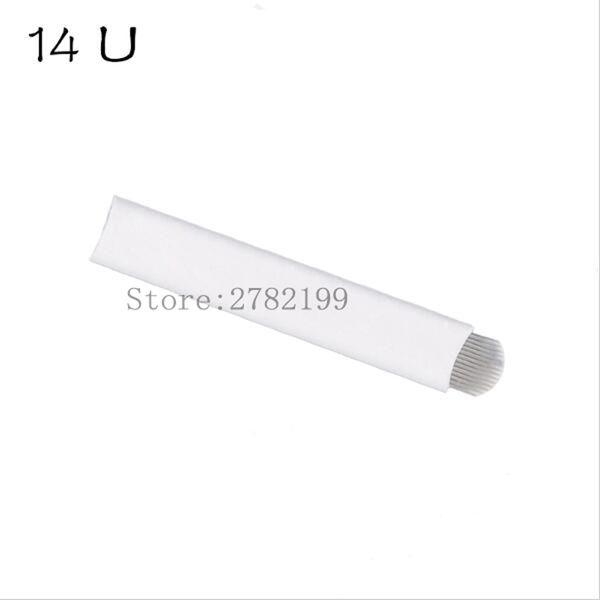 100 pcs 14 pin U Shape Microblading Needles 14 pins Tattoo Needles Curved for Mermanent makeup Eyebrow Pen Machine White