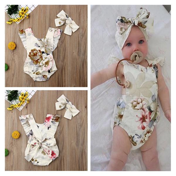 Macacão Romper Do Bebê Estampa Floral Sem Encosto Sem Mangas Ruffled Romper Menina + Headband 2 PCS Set INS Verão Infantil Roupa Dos Miúdos A32105