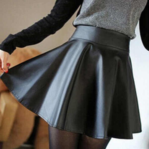 fashion women faux leather skirt high waist skater flare mini skirt above knee solid color flared pleated short, Black