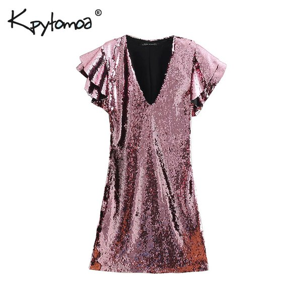 0c256372423 Vintage Sexy Sequin Mini Dress Women 2019 Fashion V Neck Butterfly Sleeve  Streetwear Ladies Party Dresses Casual Vestidos Mujer